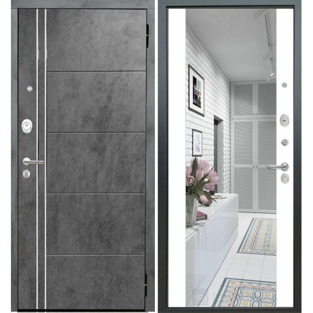 Металлическая дверь Йошкар-Ола Периметр Бетон тёмный, зеркало белый софт