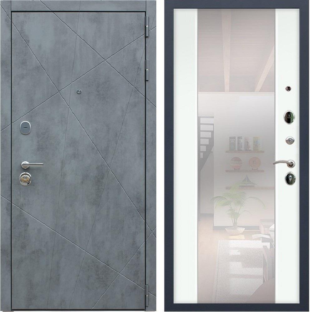 Металлическая дверь Йошкар-Ола Рекс Дуэт Б Бетон темный СБ-16 Силк сноу