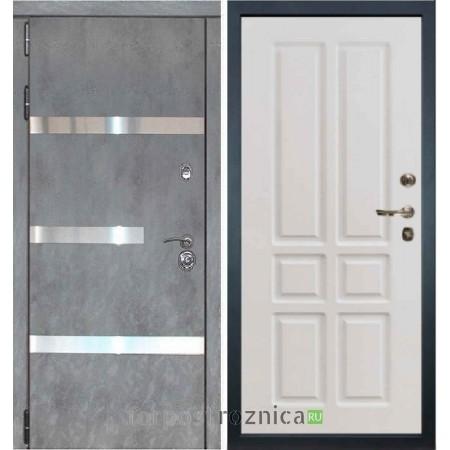 Входная дверь Лекс Сенатор Бетон темный №6  / Софт белый снег №87 (белый матовый, без текстуры)