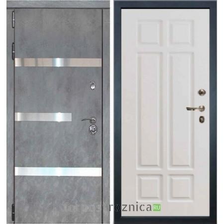 Входная дверь Лекс Сенатор Бетон темный №6 / Софт белый снег №89