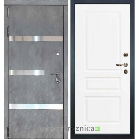 Входная дверь Лекс Сенатор Бетон темный №6 / Софт белый снег №94  (белый матовый, без текстуры)