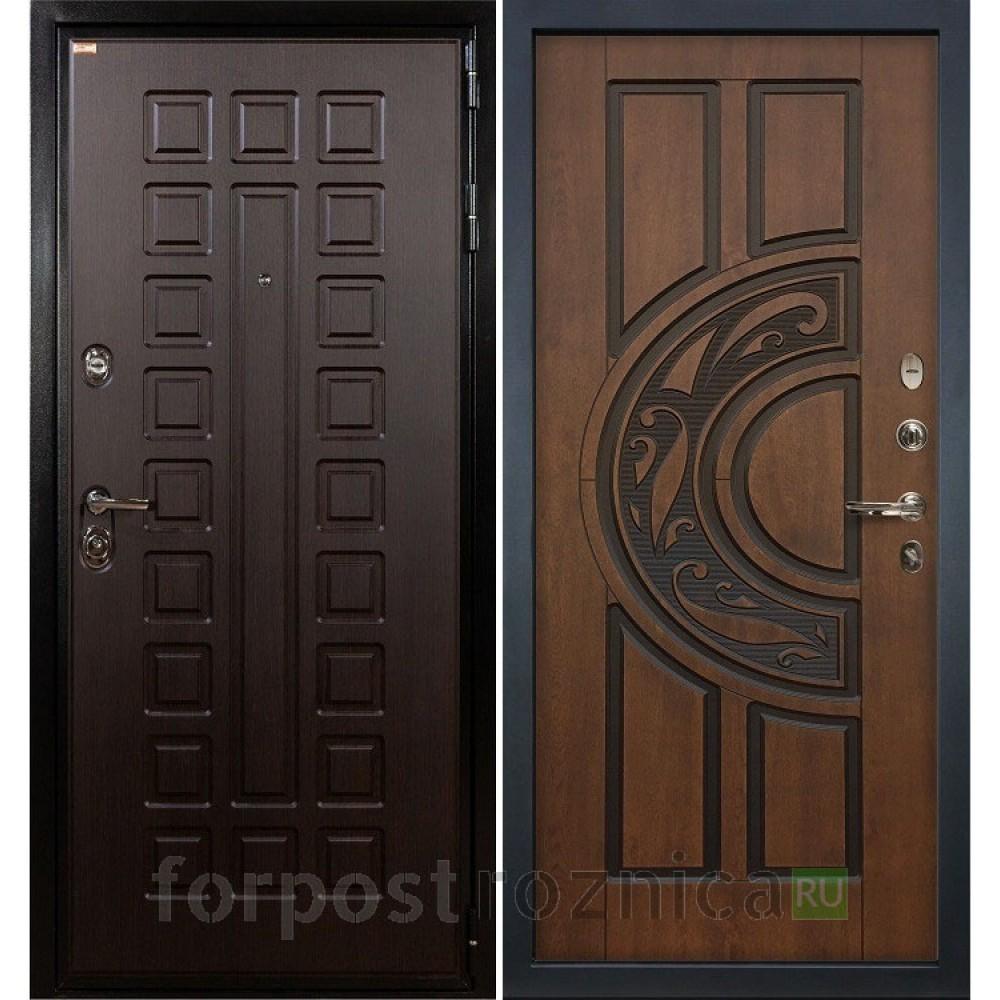 Входная дверь Лекс Гладиатор-3К Голден патина черная (панель №27)