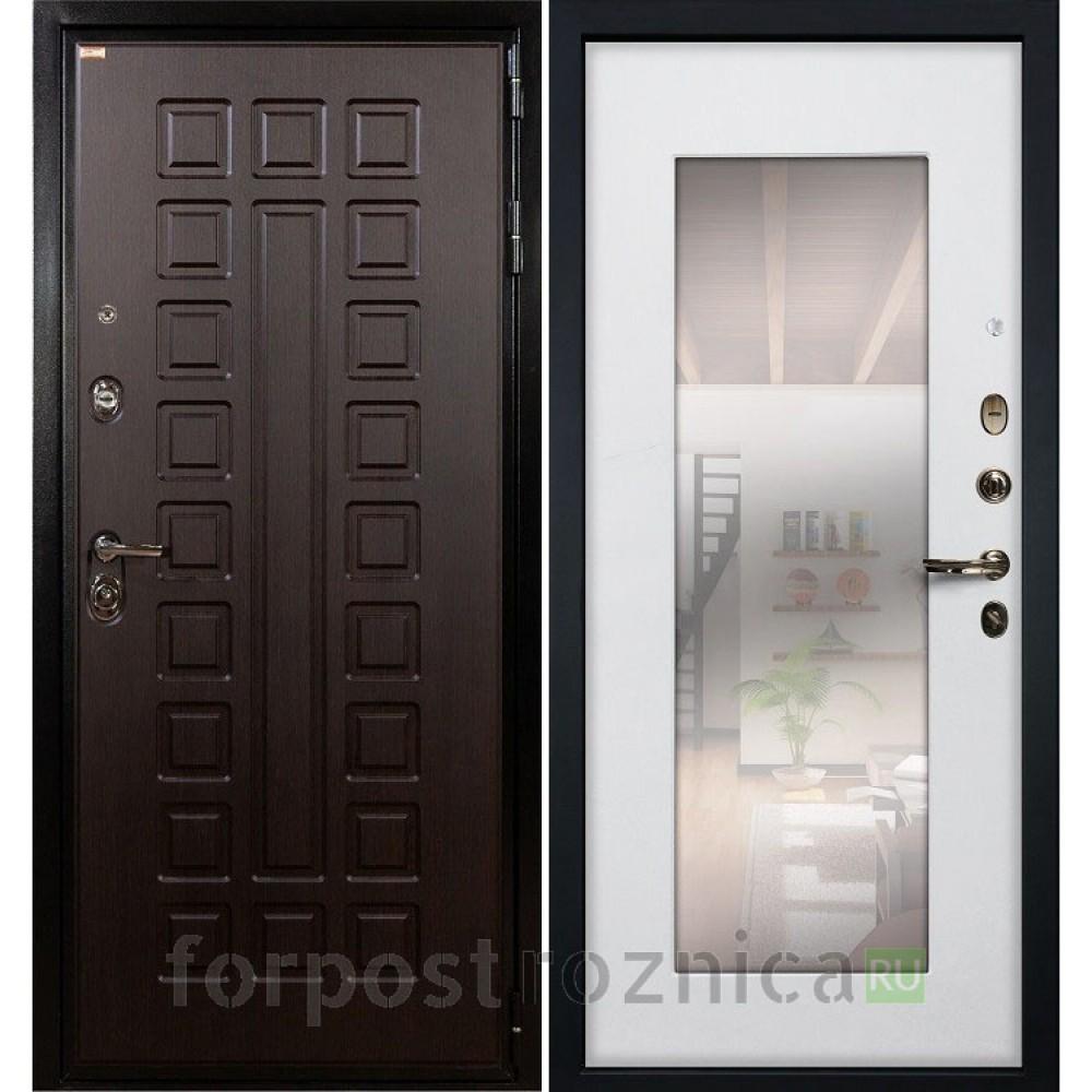 Входная дверь Лекс Гладиатор-3К с Зеркалом Ясень белый (панель №37)