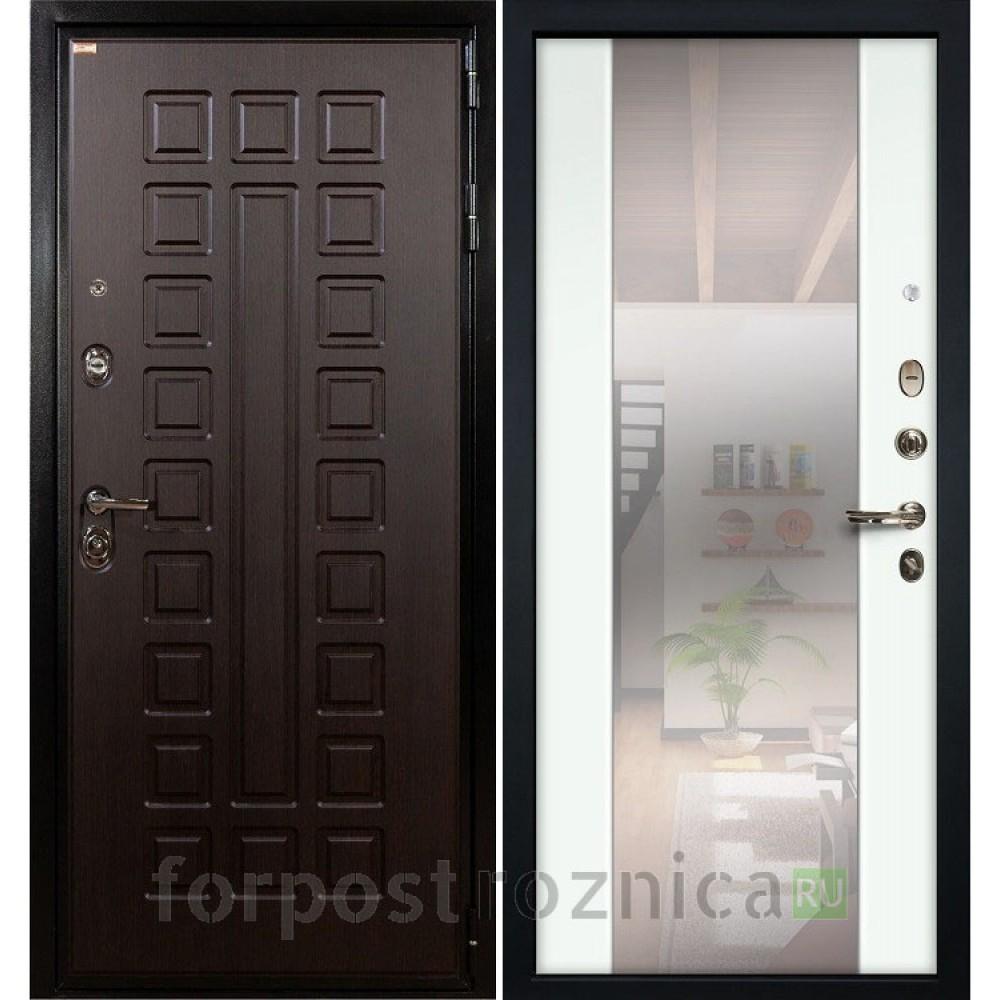 Входная дверь  Лекс Гладиатор-3К  Стиль с Зеркалом Ясень белый (панель № 61)