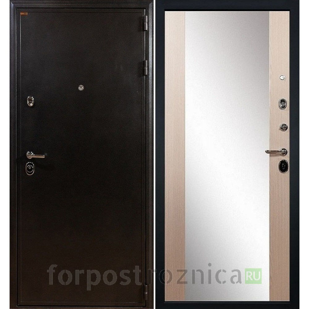 Входная дверь Лекс Колизей Стиль с Зеркалом Дуб беленый (панель №45)