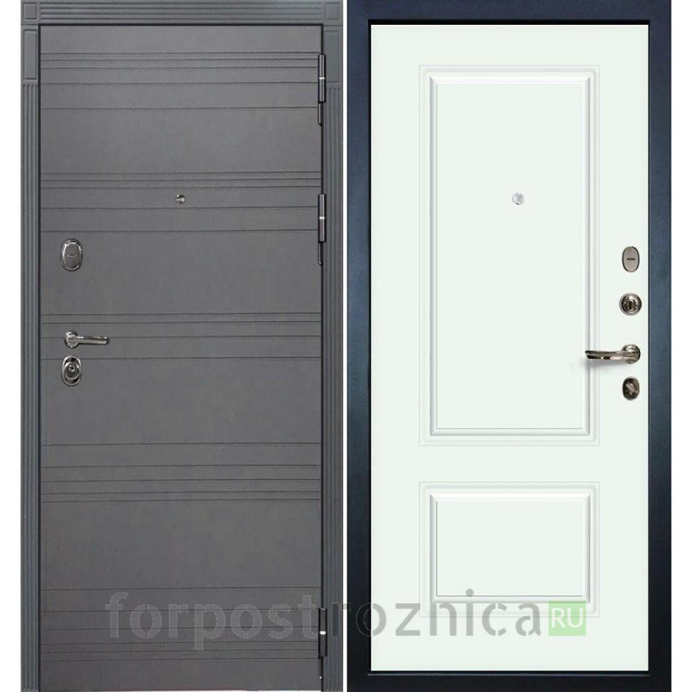 Входная дверь Лекс Легион 3К Софт графит / Эмаль Белая (панель №55)