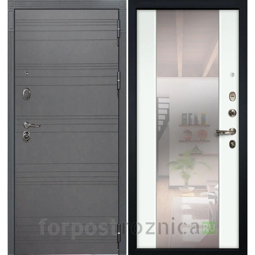 Входная дверь Лекс Легион 3К Стиль с Зеркалом Софт графит / Ясень белый (панель №61)