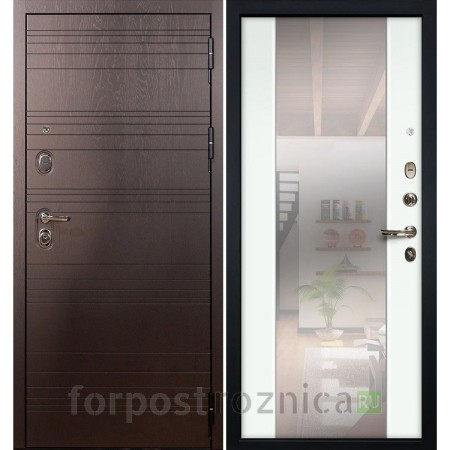 Входная дверь Лекс Легион 3К Стиль с Зеркалом Ясень белый (панель №61)