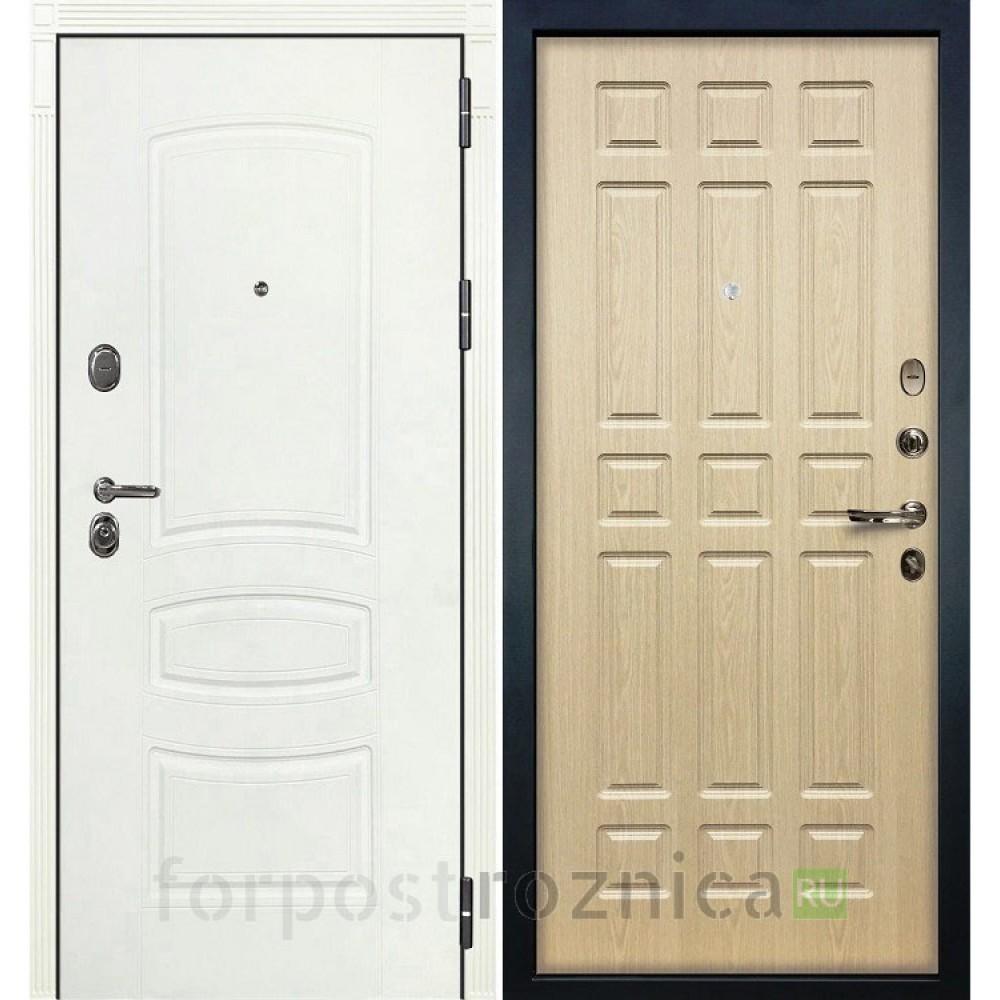 Входная дверь Лекс Легион 3К Шагрень белая / Дуб беленый (панель №28)