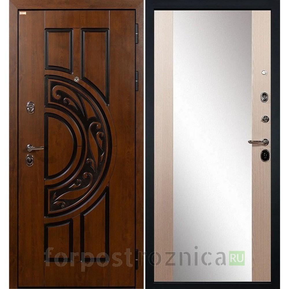 Входная дверь Лекс Спартак Cisa Стиль с Зеркалом Дуб беленый (панель №45)