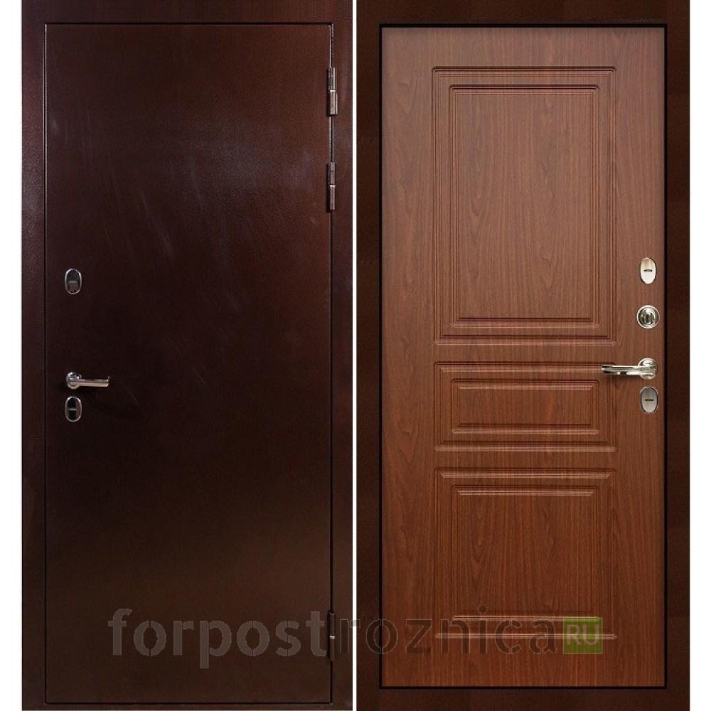 Входная дверь с терморазрывом  Лекс Термо Сибирь 3К Береза мореная (панель №19)