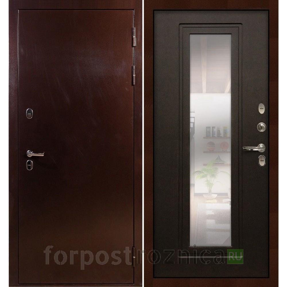 Входная дверь с терморазрывом Лекс Термо Сибирь 3К с зеркалом Венге (панель №22)