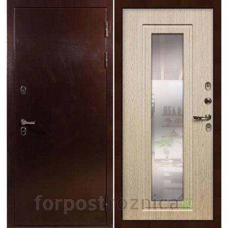 Входная дверь с терморазрывом Лекс Термо Сибирь 3К с зеркалом Дуб беленый (панель №23)