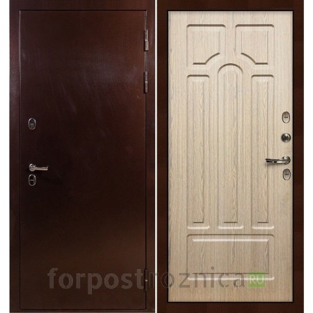 Входная дверь с терморазрывом Лекс Термо Сибирь 3К Дуб беленый (панель №25)