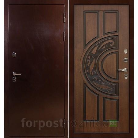 Входная дверь с терморазрывом  Лекс Термо Сибирь 3К Винорит Голден патина черная (панель №27)