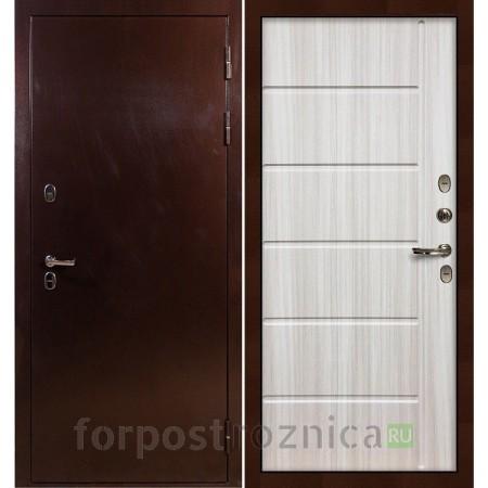 Входная дверь с терморазрывом Лекс Термо Сибирь 3К Сандал белый (панель №42)