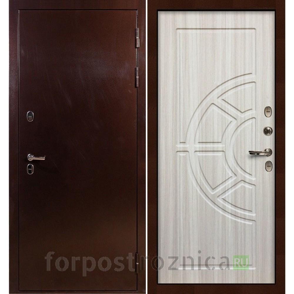 Входная дверь с терморазрывом Лекс Термо Сибирь 3К Сандал белый (панель №44)