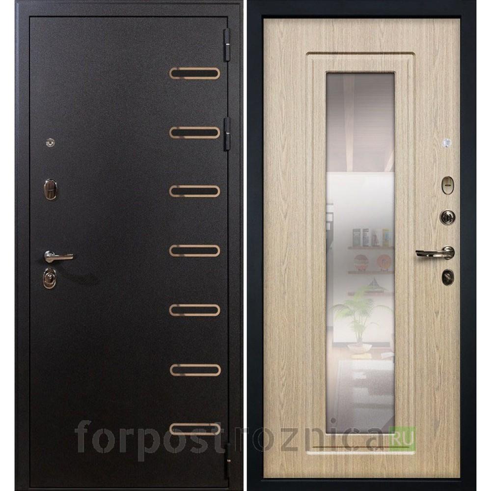 Входная дверь Лекс Витязь 23  Дуб беленый (с зеркалом)