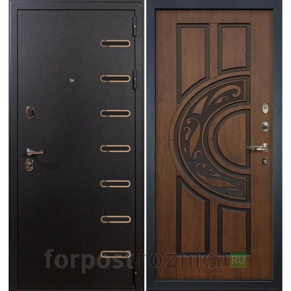 Входная дверь Лекс Витязь 27 Голден патина черная (Трехконтурные)