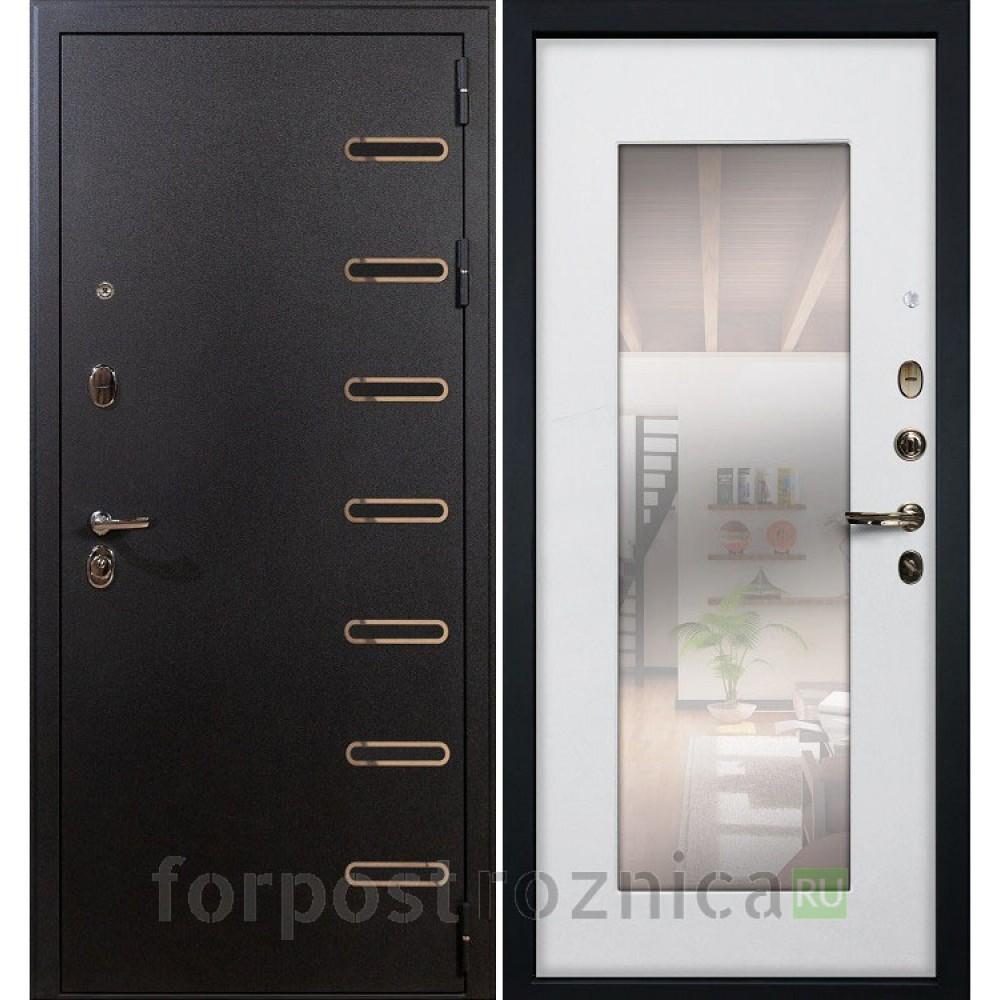 Входная дверь Лекс Витязь с Зеркалом Ясень белый (панель №37)