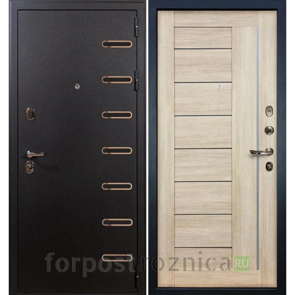 Металлическая дверь Лекс Витязь Верджиния 40 Ясень кремовый (со стеклом)