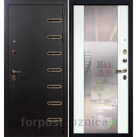 Входная дверь Лекс Витязь 61 в цвете Ясень белый (с зеркалом)