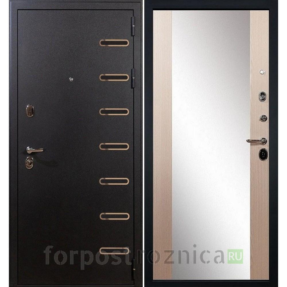 Входная дверь Лекс Витязь 45 Дуб беленый  (с зеркалом)