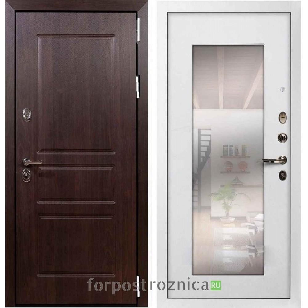 Входная дверь Лекс Император Алмон 28 / Белый ясень №37 (с зеркалом)