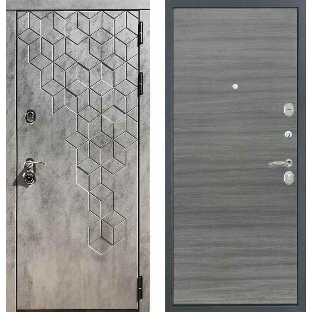 Входная дверь REX 23 Пчела Гладкая (без фрезеровки) Сандал серый
