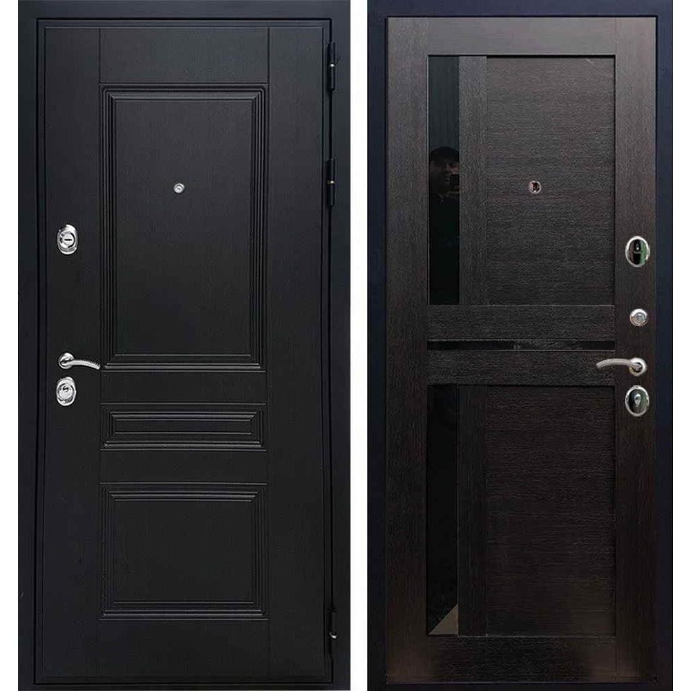 Входная дверь REX Премиум H венге сб-18 венге черное стекло