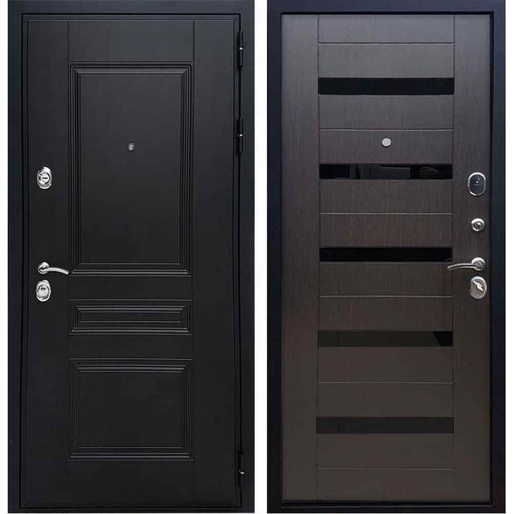 Входная дверь REX Премиум H венге сб-14 эковенге черное стекло