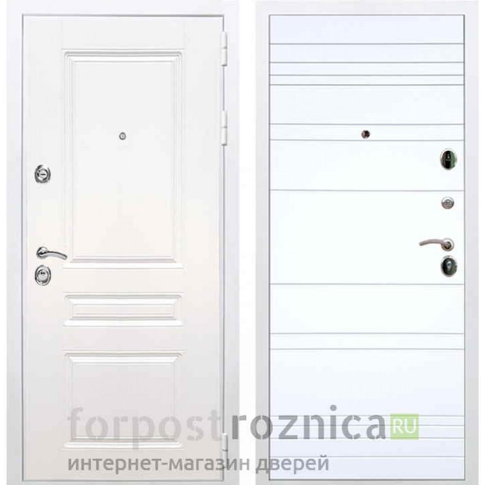 Входная дверь REX Премиум H белая 14 Цвет силк сноу (Трехконтурные )
