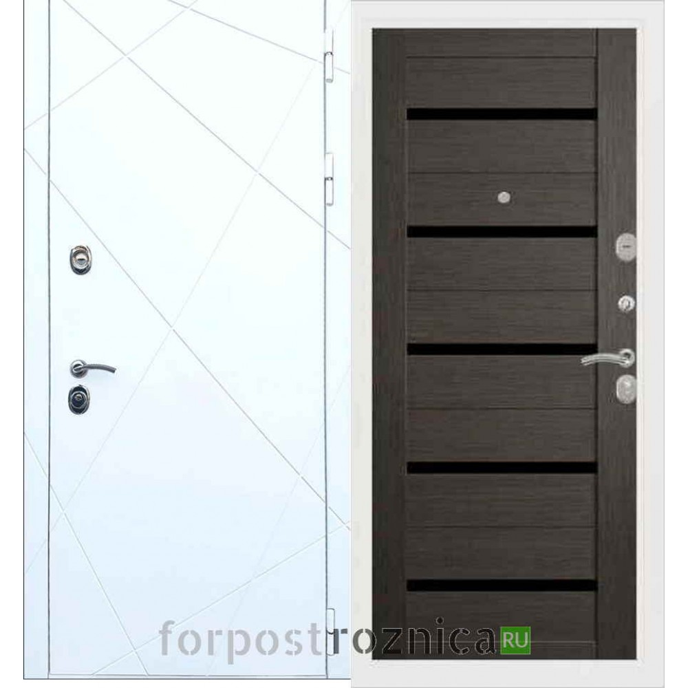 Входная дверь REX 13 СБ-14 Черное стекло Лиственница серая