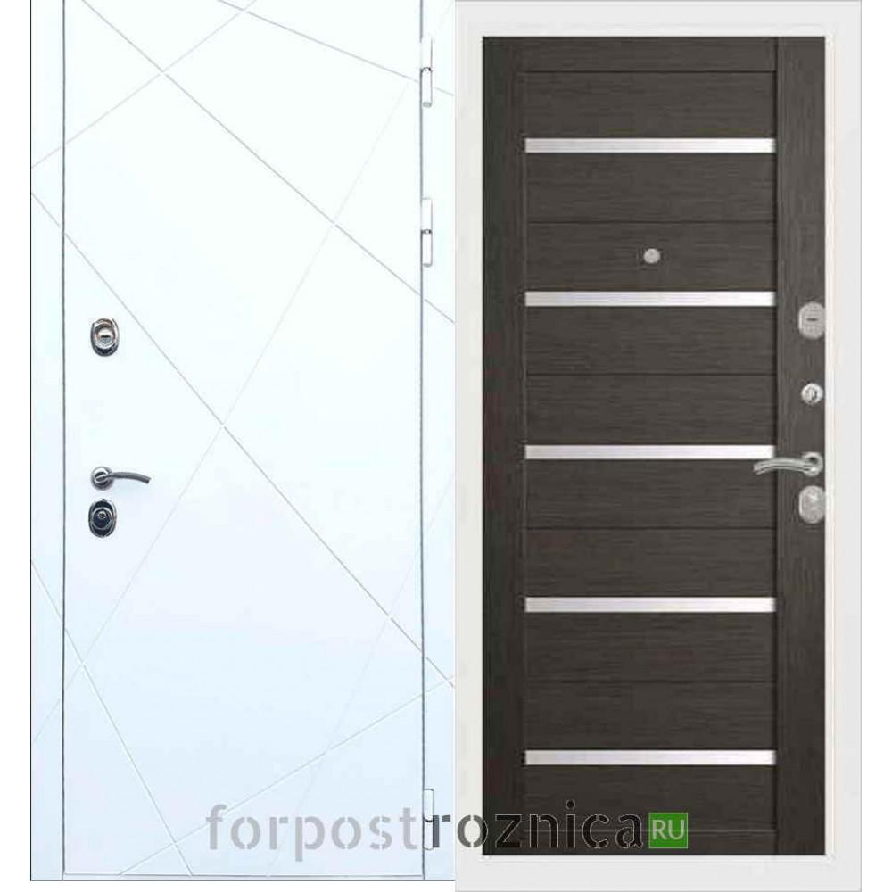 Входная дверь REX 13 СБ-14 Белое стекло Лиственница серая