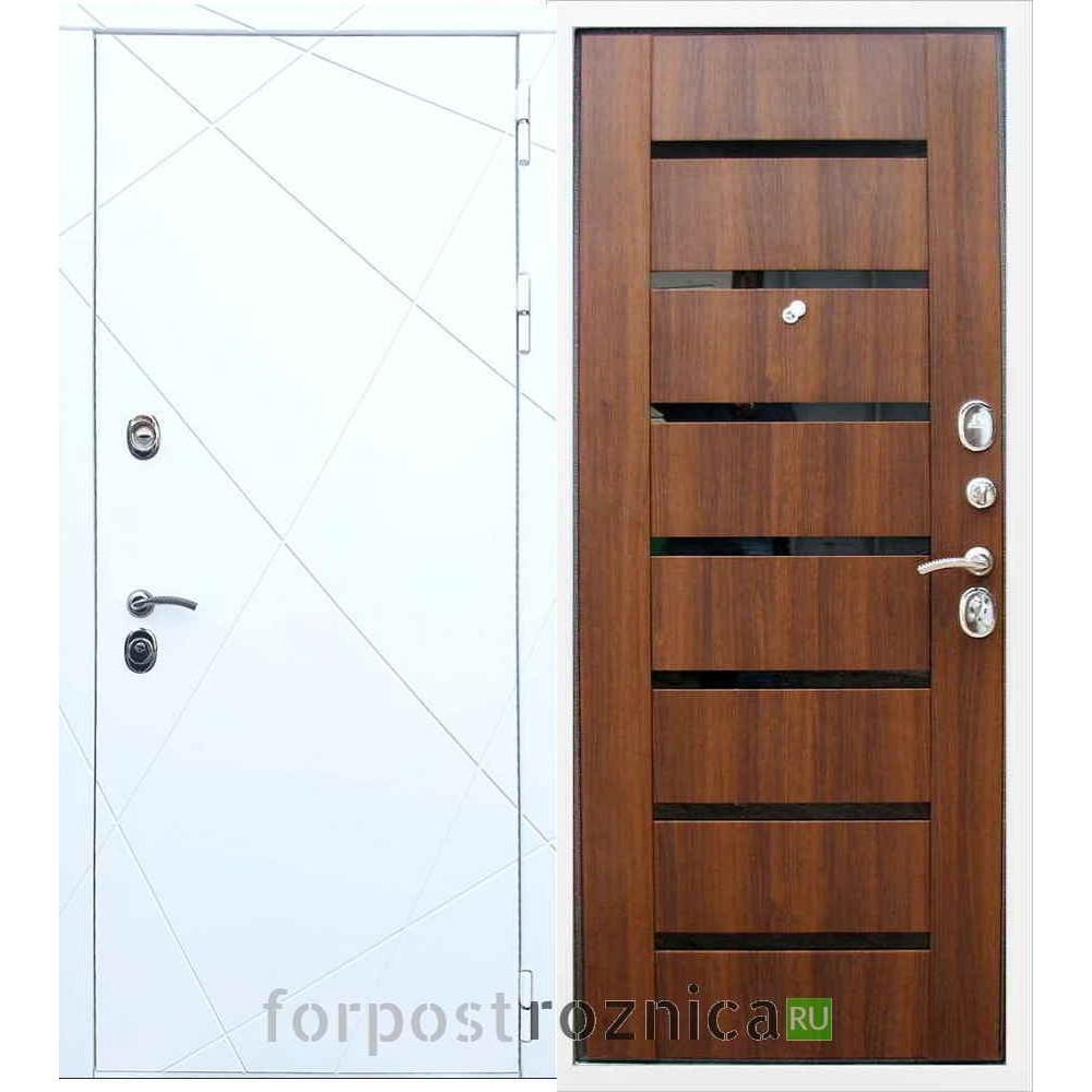 Входная дверь REX 13 СБ-14 Черное стекло Орех бренди