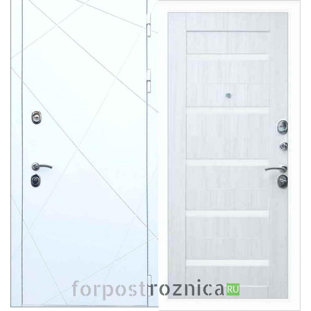 Входная дверь REX 13 СБ-14 Белое стекло Сандал белый