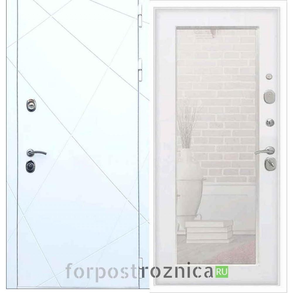 Входная дверь REX 13 Пастораль Силк сноу (с зеркалом)