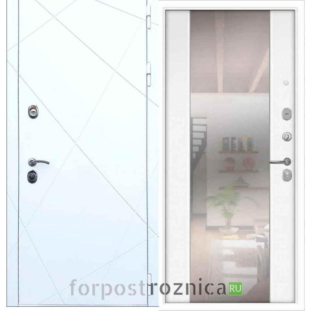 Входная дверь REX 13 СБ-16 Силк сноу (с зеркалом)