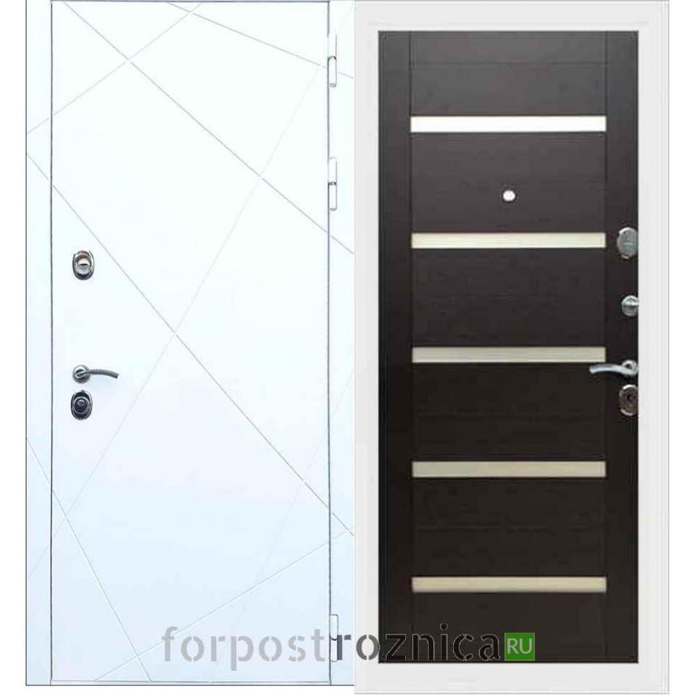 Входная дверь REX 13 СБ-14 Белое стекло Венге поперечный