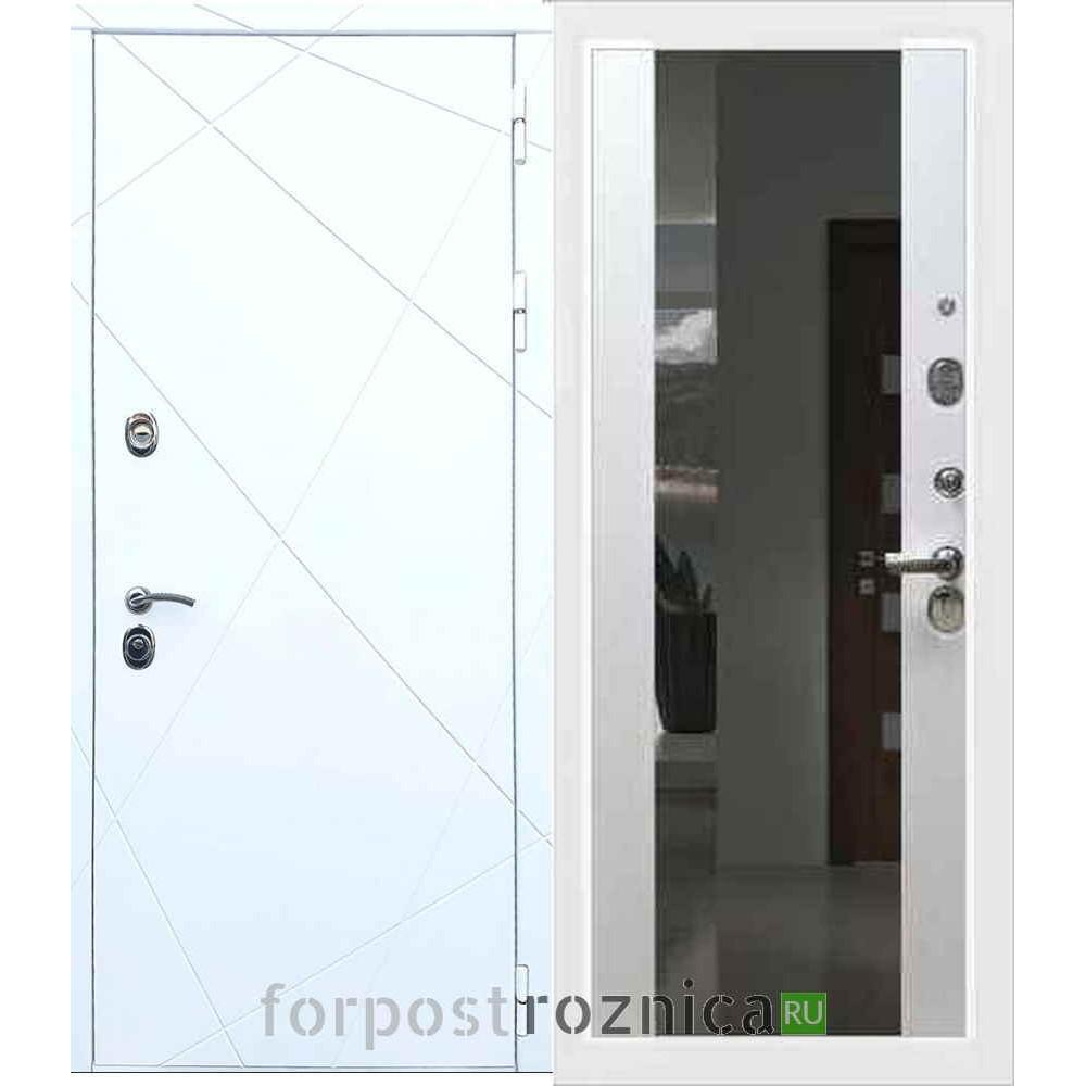 Входная дверь REX 13 СБ-16 с зеркалом Белый ясень