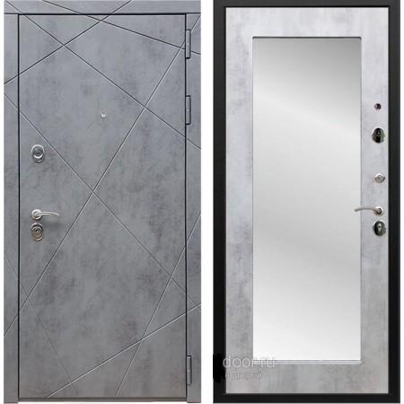Входная дверь REX 13 бетон Пастораль с зеркалом Бетон светлый