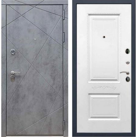 Входная дверь REX 13 Бетон «Салмат» Белый софт