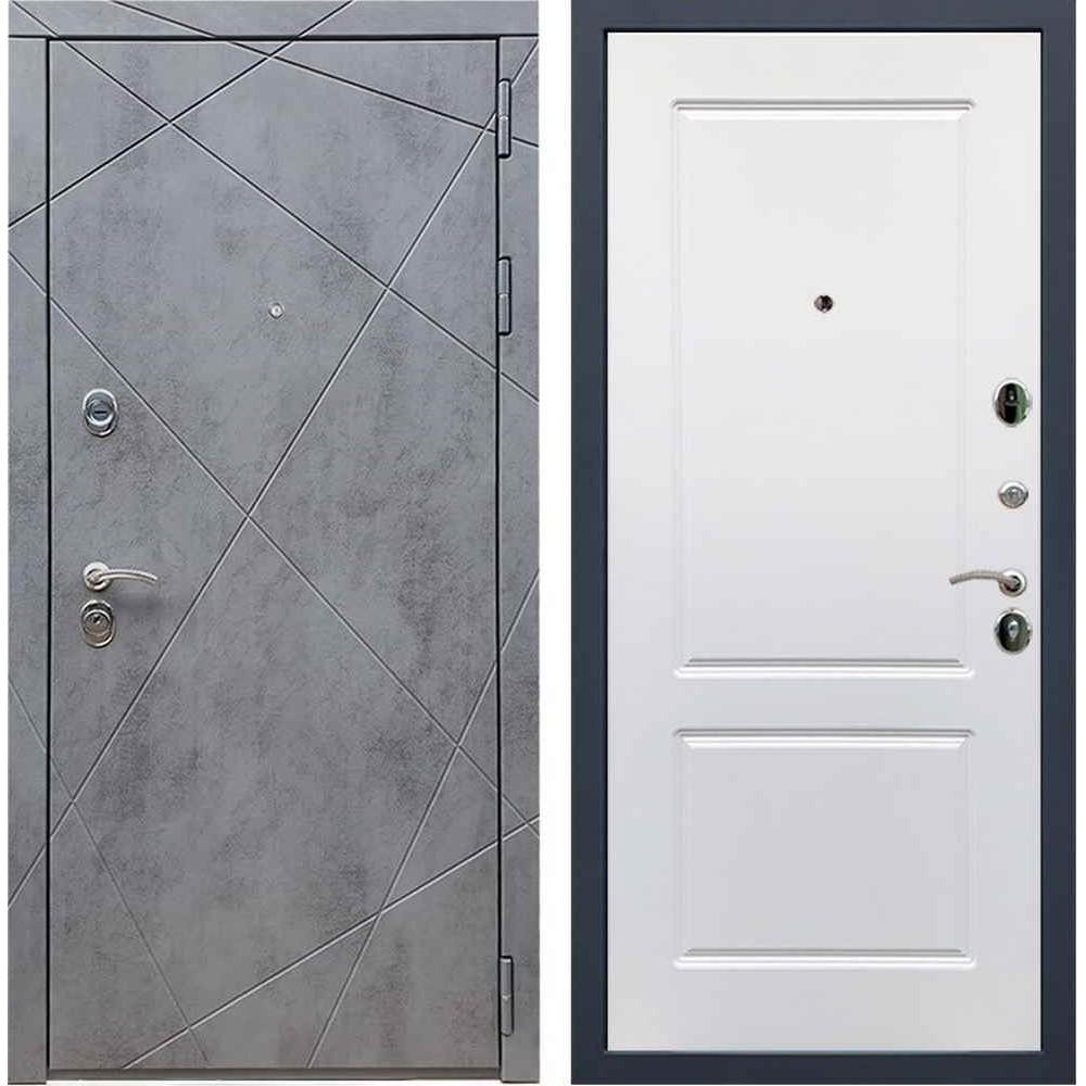 Входная дверь REX 13 Бетон «ФЛ-117» Белый софт