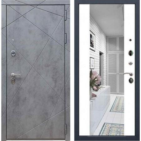 Входная дверь REX 13 Бетон сб-16 белый софт ( с зеркалом)