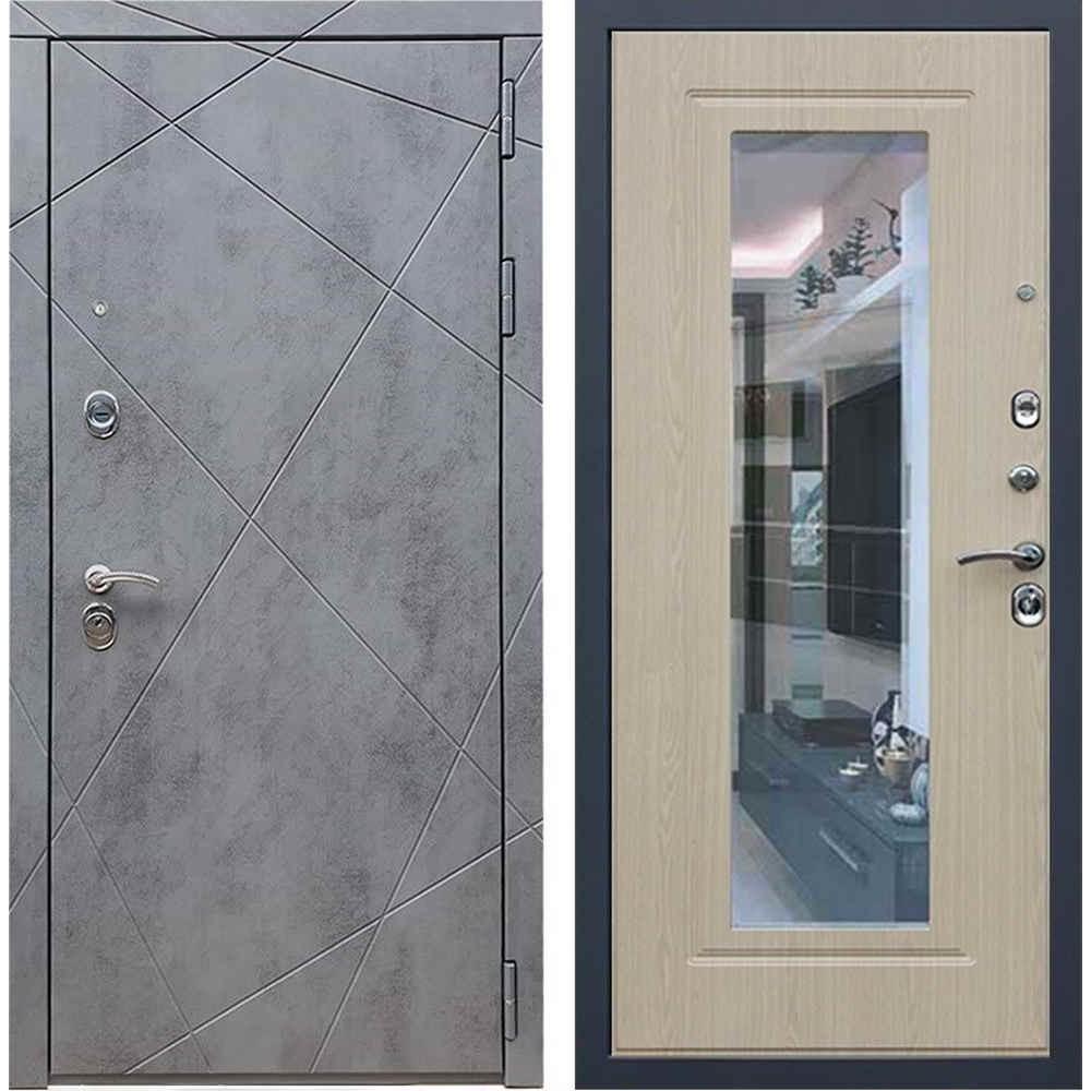 Входная дверь REX 13 Бетон ФЛЗ-120 беленый дуб