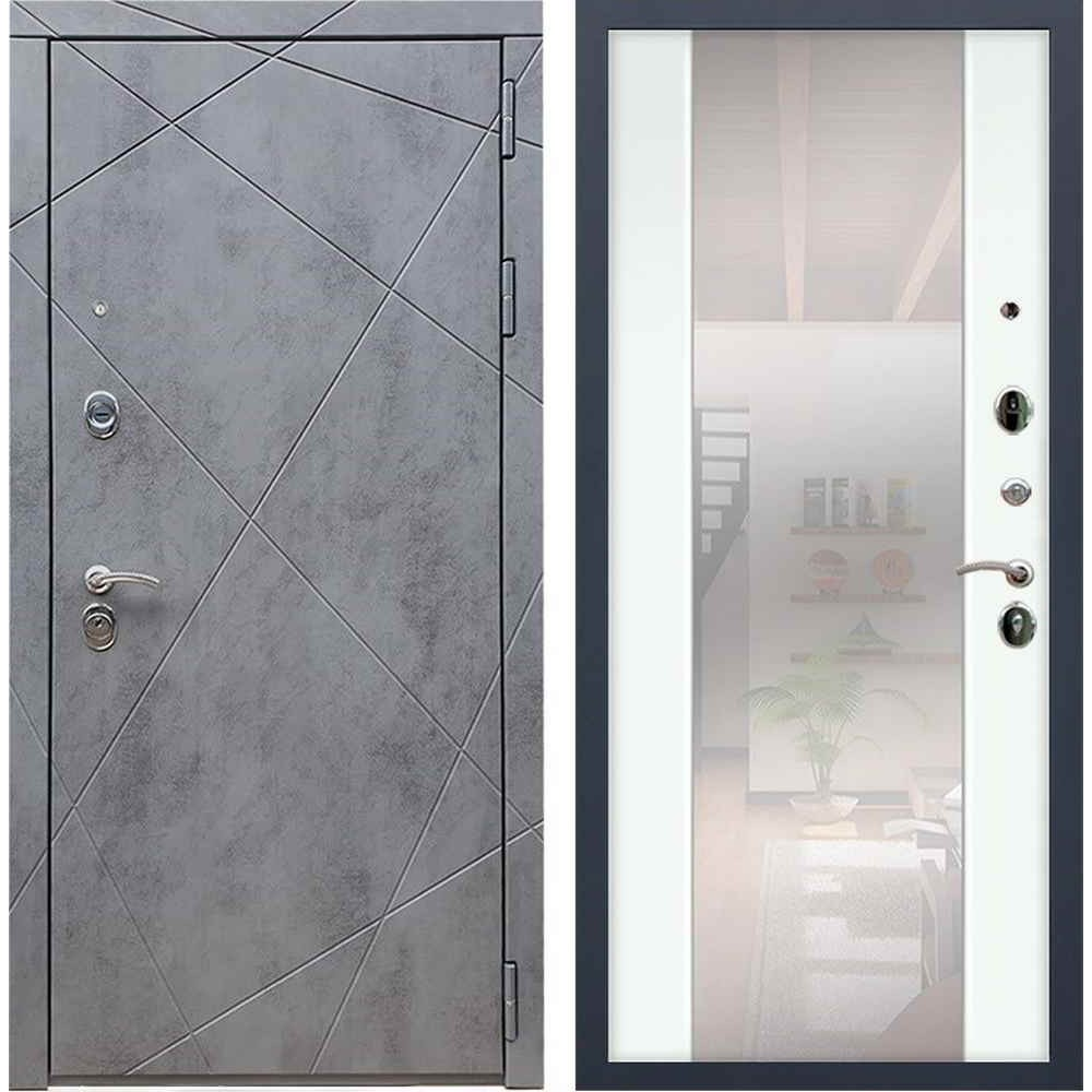 Входная дверь REX 13 Бетон сб-16 белый ясень