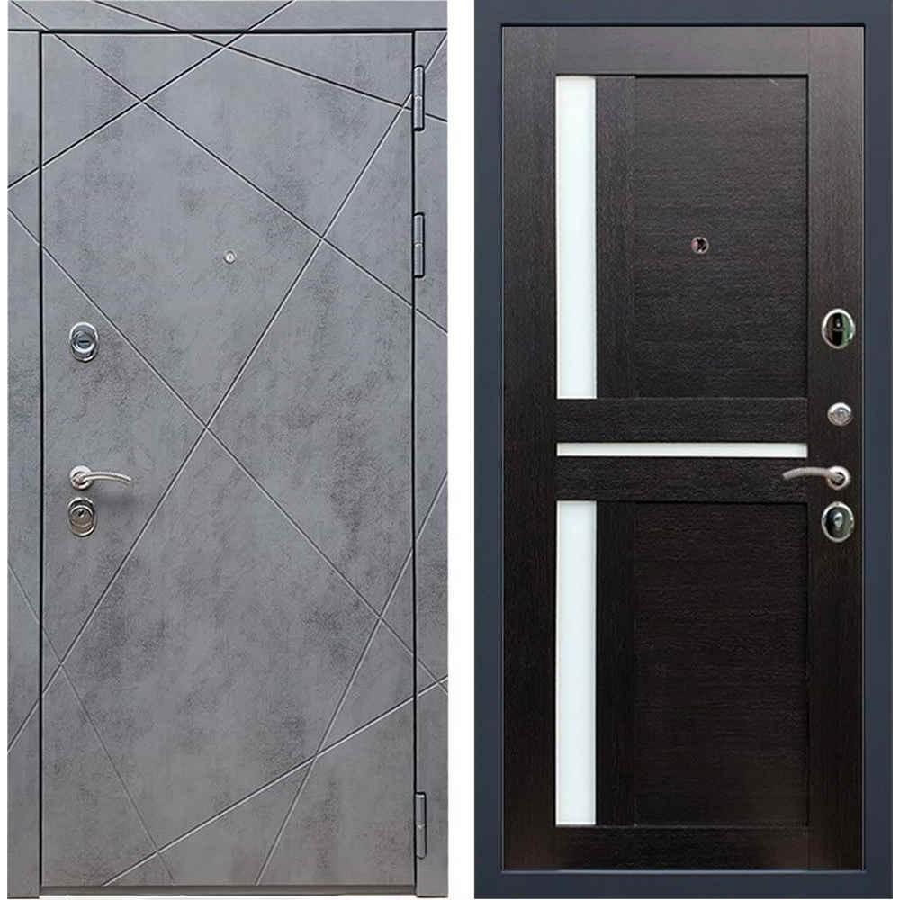 Входная дверь REX 13 Бетон сб-18 венге белое стекло