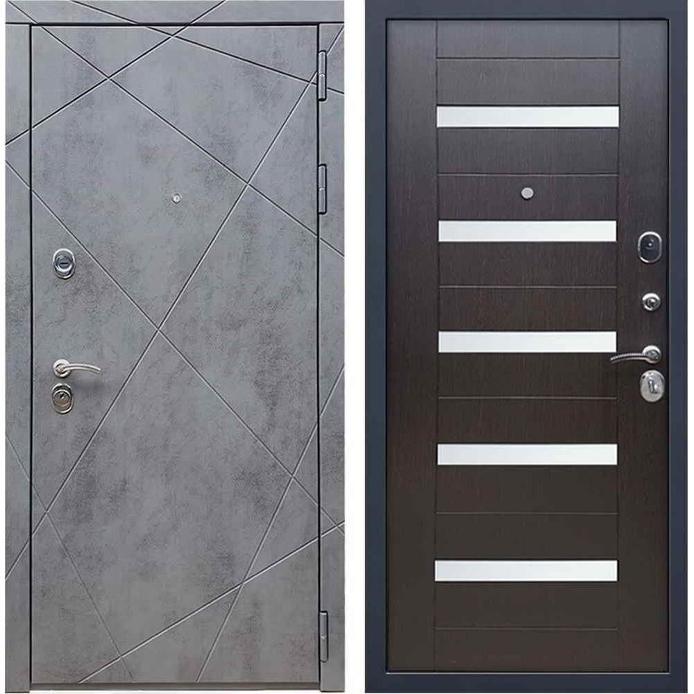 Входная дверь REX 13 Бетон сб-14 эковенге белое стекло