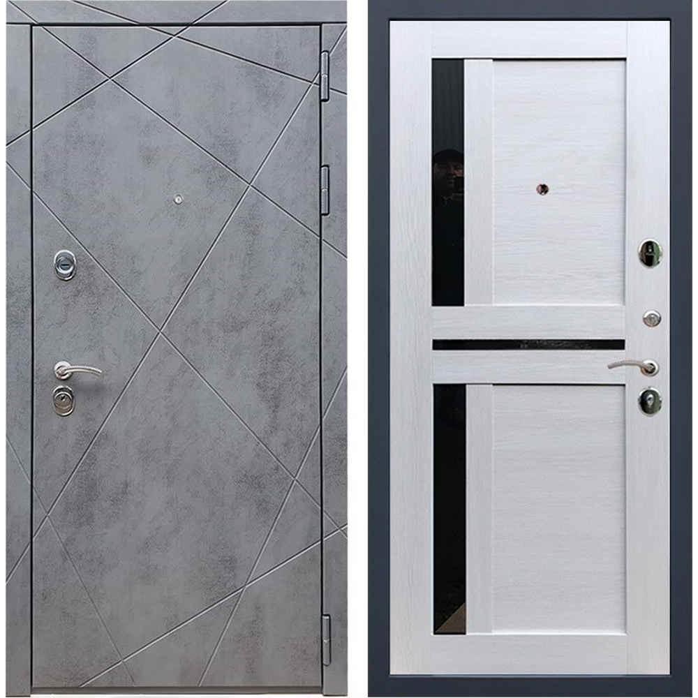 Входная дверь REX 13 Бетон сб-18 лиственница бежевая (со стеклом)