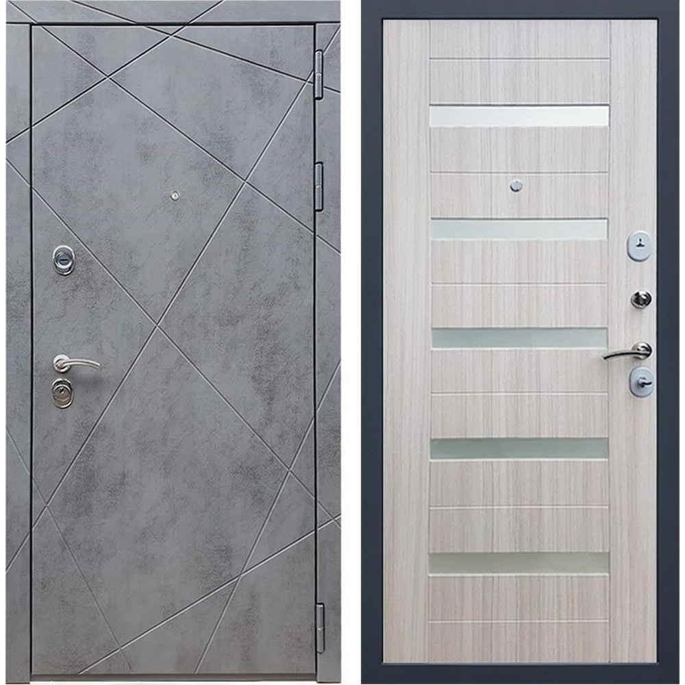 Входная дверь REX 13 Бетон сб-14 сандал белый белое стекло